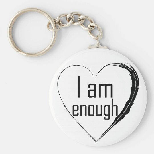 black feathered heart 'I am enough' Key Ring