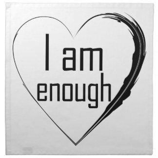 black feathered heart 'I am enough' Napkin