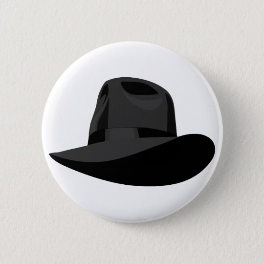 Black Fedora narrow ribbon 6 Cm Round Badge