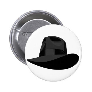 Black Fedora wide ribbon 6 Cm Round Badge