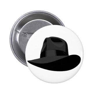 Black Fedora wide ribbon Button