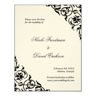 Black felt formal wedding save the date flat card 11 cm x 14 cm invitation card