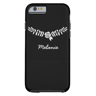 Black feminine cell phone cover with name