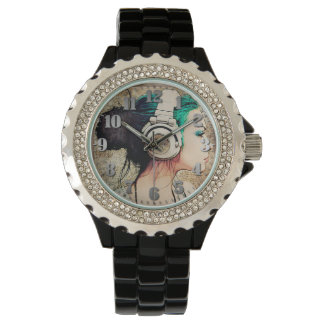 "Black Feminine clock with Strass ""Woman music "" Wristwatch"