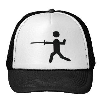 black fencing symbol logo cap