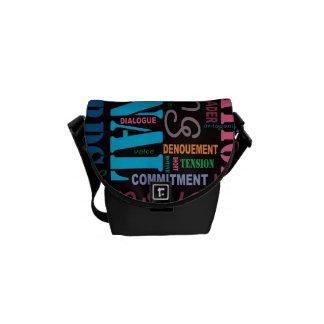 Black Fiction Writer's Word Art Handbag Messenger Bag