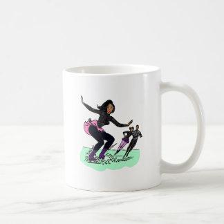 black figure skater basic white mug