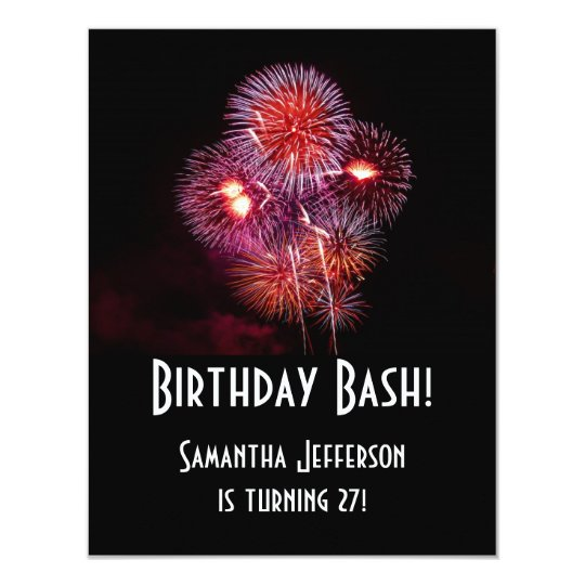 Black Fireworks Birthday Bash Invitations