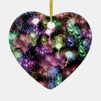 Black Fireworks Ceramic Heart Decoration
