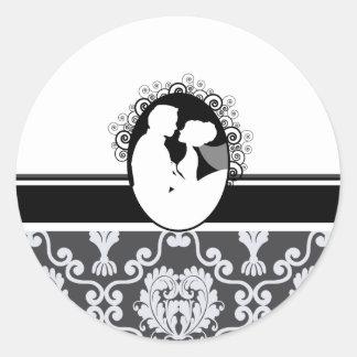 Black First Kiss Wedding Seal Round Sticker