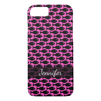 Black Fish in a Sea of Hot Pink, Personalized iPhone 8/7 Case