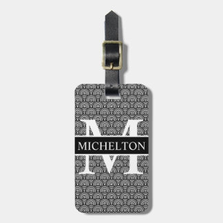 Black Fish Scale Personalised Luggage Tag