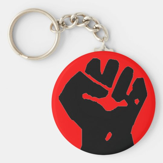 black fist on red key chain