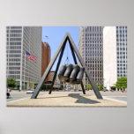 Black Fist Sculpture in Detroit MI Poster Print