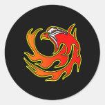Black Flame Tribal Eagle Head Round Sticker