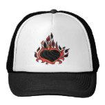 Black Flaming Heart Hats