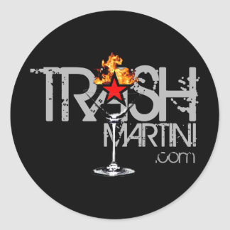 Black Flaming martini Silver Logo Round Sticker