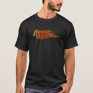 Black Flaming Mustang Horse T-Shirt