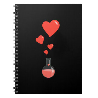 Black Flask Of Hearts Valentine's Day Geek Note Book