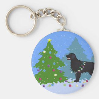 Black Flat-Coated Retriever - Christmas Forest Basic Round Button Key Ring