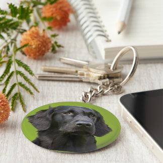 Black Flat Coated Retriever dog photo keychain