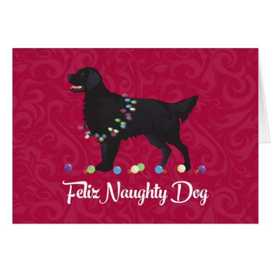 Black Flat Coated Retriever Feliz Naughty Dog Card