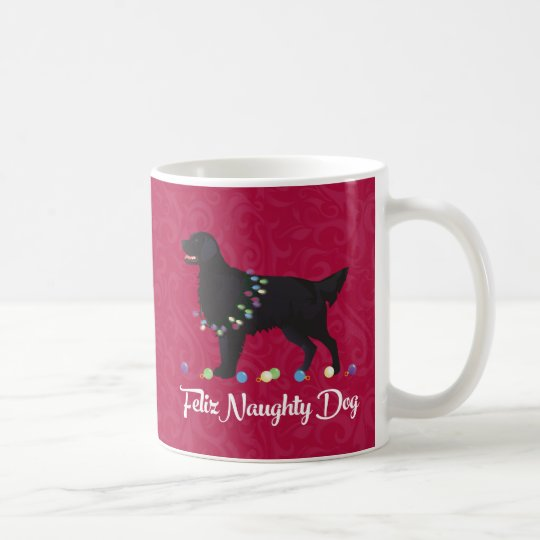 Black Flat Coated Retriever Feliz Naughty Dog Coffee