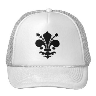 Black fleur de lis trucker hat