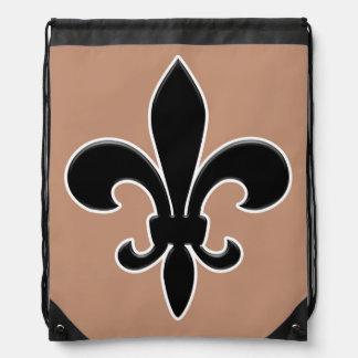 Black Fleur de Lis on Gold Background Drawstring Bag