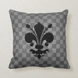 Black Fleur de lis on gray checkerboard pattern Cushion