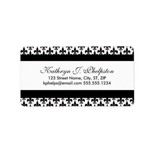 Black Fleur-de-lis Personalised Address Address Label