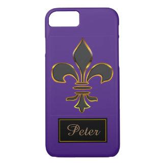 Black Fleur-de-lis Trimmed in Gold iPhone 8/7 Case