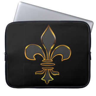 Black Fleur-de-lis Trimmed in Gold Laptop Computer Sleeve