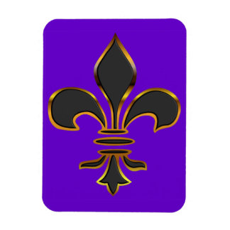Black Fleur-de-lis Trimmed in Gold Rectangular Photo Magnet