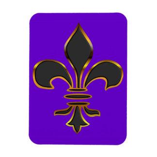 Black Fleur-de-lis Trimmed in Gold Rectangular Photo Magnet