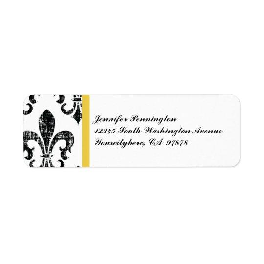 Black fleurdelis distressed return address labels