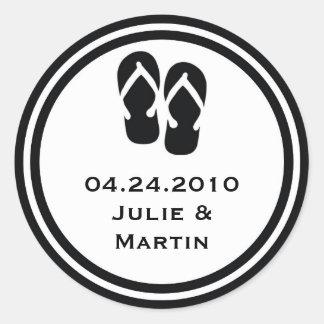 Black flip flop thong wedding favor tag seal label