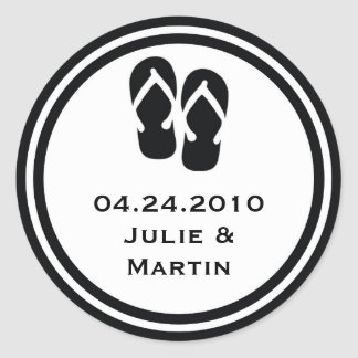 Black flip flop thong wedding favor tag seal label round sticker