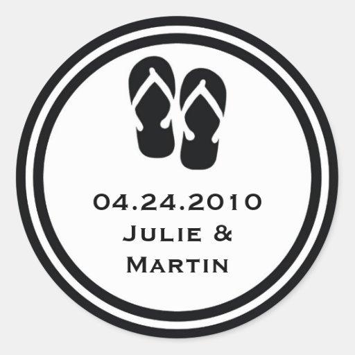 Black flip flop thong wedding favor tag seal label round stickers