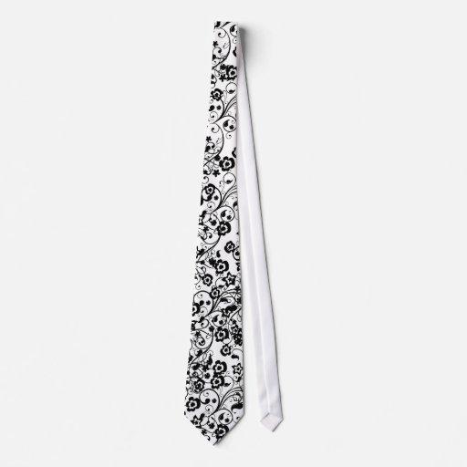 Black Floral 4 Unique Black/White Design Tie