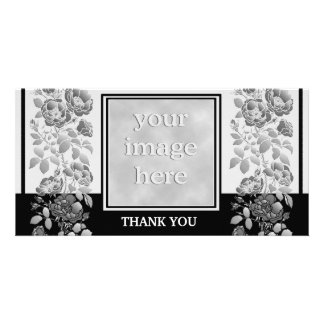 Black Floral and Elegant Thank You Custom Photo Card