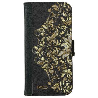 Black Floral Background Glitter & Gold Floral Lace iPhone 6 Wallet Case