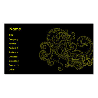 Black Floral - Business Pack Of Standard Business Cards