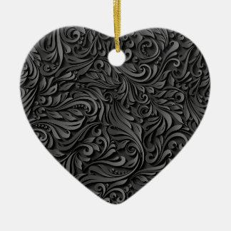 Black Floral Ceramic Heart Decoration