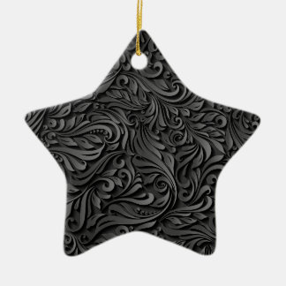 Black Floral Ceramic Star Decoration