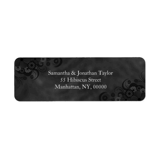 Black Floral Chalkboard Small Return Address Label
