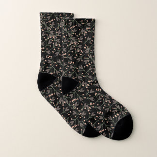 Black Floral Cute Girly Pattern Socks 1