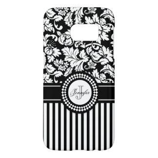 Black Floral Damask And Black White Stripes