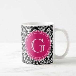 Black Floral Damask Pattern Hot Pink Monogram Basic White Mug