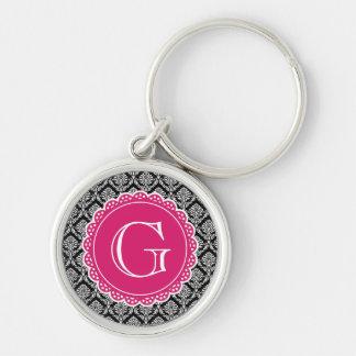Black Floral Damask Pattern Hot Pink Monogram Key Ring